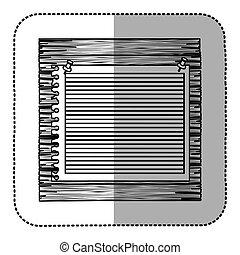 monochrome sticker of striped notebook sheet in blank on wood board