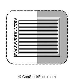 monochrome sticker of striped notebook sheet in blank