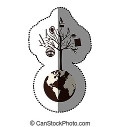 monochrome sticker of world with tree of knowledge