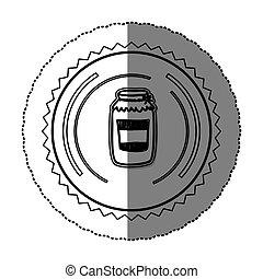 monochrome sticker round frame with glass jam