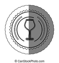 monochrome sticker round frame with glass of champagne sour
