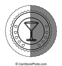 monochrome sticker round frame with martini glass