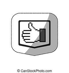 monochrome sticker silhouette of pixel hand showing symbol like