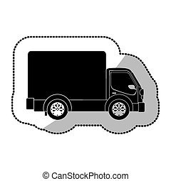 monochrome sticker transport truck with wagon and wheels...