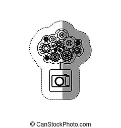 monochrome sticker with concept of maintenance service of analog camera