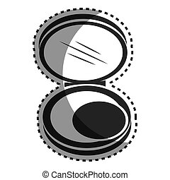 monochrome sticker with face powder beauty product vector ...
