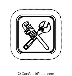 monochrome sticker with square with crossed wrenches vector illustration