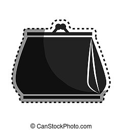 monochrome sticker woman purse icon design