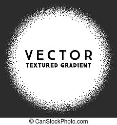 Monochrome stippled round gradient texture, abstract noir...