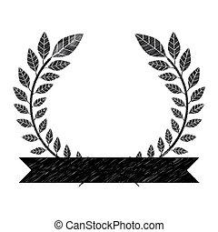 monochrome striped decorative olive branch half crown with ribbon