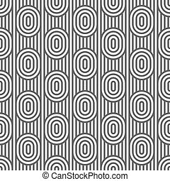 Monochrome striped seamless pattern with ovals