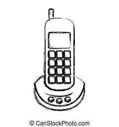 monochrome, téléphone, brouillé, silhouette, sans fil