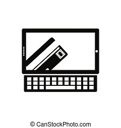 monochrome tablet and keyboard with display with credit card in hand