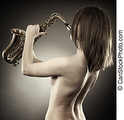 Monochrome toned of a lady playing saxophone