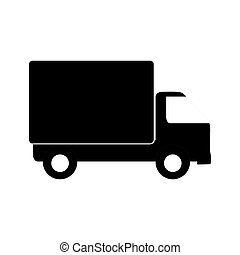 monochrome transport truck with wagon and wheels vector...