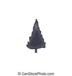 monochrome tree shape, icon. Vintage hand drawn design. Stock vector isolated on white background