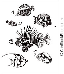 Monochrome tropical fished - 6 Different Monochrome Tropical...