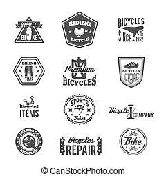 monochrome, vélo, ensemble, étiquette