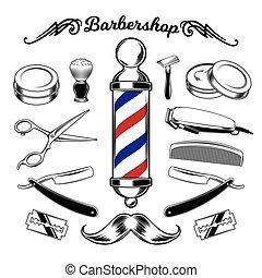 monochrome, vecteur, salon coiffure, tools., collection