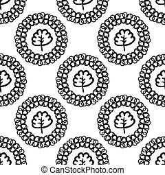 Monochrome vector background with abstract plants.