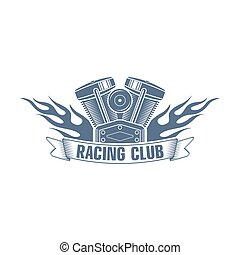 monochrome vector  bikers racing club logo; motorcycle club badge with a flame, motor and ribbon; motorcycle service icon