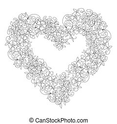 Monochrome vector doodle floral wreath in the shape of a heart