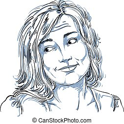 Monochrome vector hand-drawn image, blameworthy young woman...