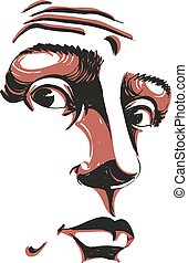 Monochrome vector hand-drawn image, surprised young man. Black and white illustration of shocked guy. Face features of guy
