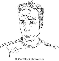 Monochrome vector hand-drawn image, surprised young man. Black and white illustration of shocked guy.