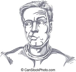 Monochrome vector hand-drawn image, young man in doubt, disbeliever. Black and white illustration of skeptic guy.