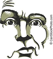 Monochrome vector hand-drawn image, young man in doubt, disbeliever. Black and white illustration of skeptic guy, features of visage.