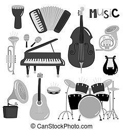 Monochrome vector music instruments of collection isolated
