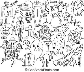 Monochrome vector set with hand-drawn Halloween doodles.