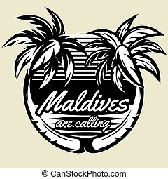 monochrome vector template for logo with two palms