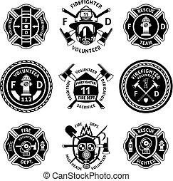 monochrome, vendange, firefighting, ensemble, étiquettes