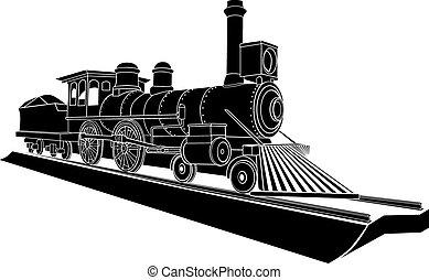 monochrome, vieux, vapeur, train.
