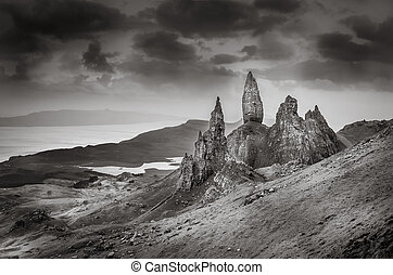 Monochrome view of Old Man of Storr rock formation, Scotland