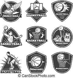 Monochrome Vintage Basketball Labels Set