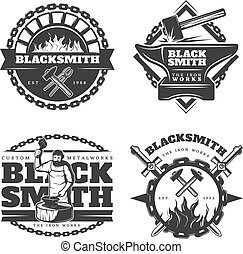 Monochrome Vintage Blacksmith Emblems Set