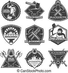 Monochrome Vintage Blacksmith Labels Set