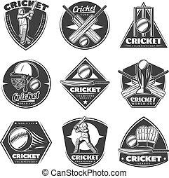 Monochrome Vintage Cricket Sport Labels Set