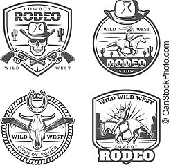 Monochrome Vintage Rodeo Emblems Set