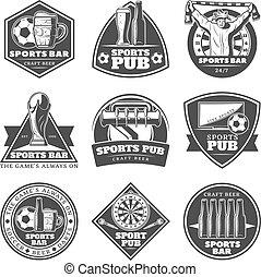 Monochrome Vintage Sport Bar Labels Set