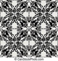 monochrome vintage tribal seamless pattern vector illustration