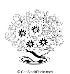 White cup with black lines and hand drawn doodle floral bouquet. Monochrome contour illustration for greeting, invitation card, adult coloring book, home decor, decorate tea party, furniture, bag, dishes. eps 10.
