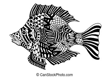 Zentangle stylized Fish. - Monochrome Zentangle stylized...