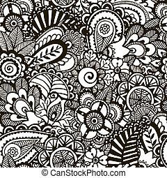 monochromia, doodle, print., seamless, tło.
