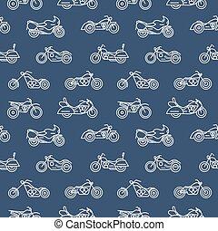 monochromia, seamless, próbka, z, motorcycles, od, różny, wzory, pociągnięty, z, biały, szkice, na, błękitne tło, -, tasak, bobber, sport, i, motocross, bikes., wektor, ilustracja, w, modny, linearny, style.