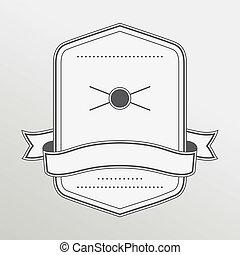 monochromia, styl, emblemat, retro, wstążka