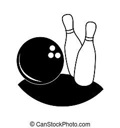 monochromia, sylwetka, z, bowling szpilki, i, piłka